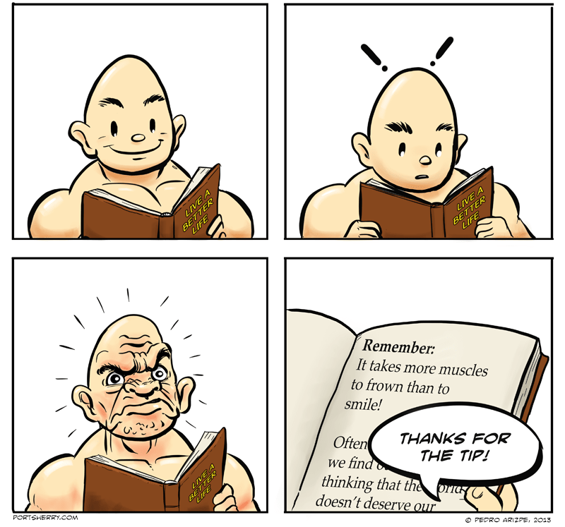 Muscle Billy reads a self-help book