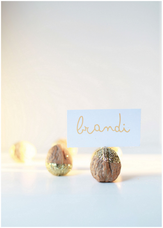 Glittered Walnut Place Card Holders - PLD