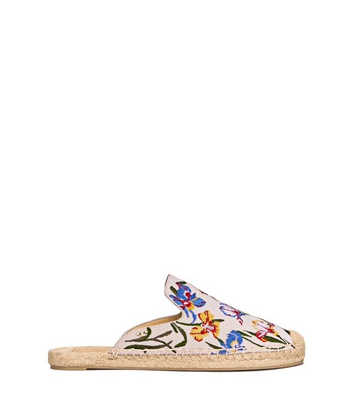 TB Max Embroidered Espadrille Slide 46913 in New Ivory Painted Iris