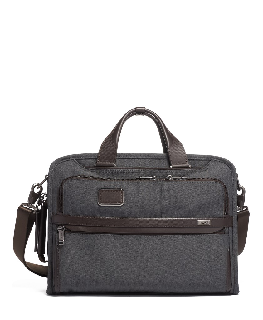 Alpha 3 Slim 3 Way Brief_Anthracite with brown leather trim