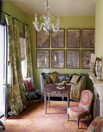 Designer Hall Williamson uses an Ikat unexpectedly on a slipper chair in this romantic sitting room;