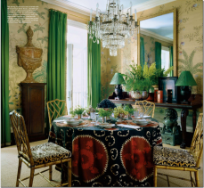 Emerald Drapery and Chinoiserie by Miles Redd, at Kips Bay