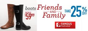 Famous Footwear 25% off Sale