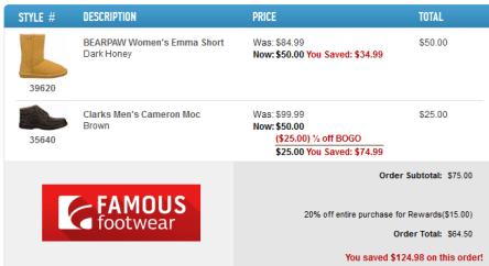 Famous footwear sale