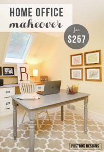 Office Makeover for $257 (Includes 4 DIY Project Ideas!), featured on Remodelaholic