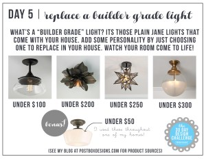30 Day Design Challenge: Day 5 Replace a Builder Grade Light