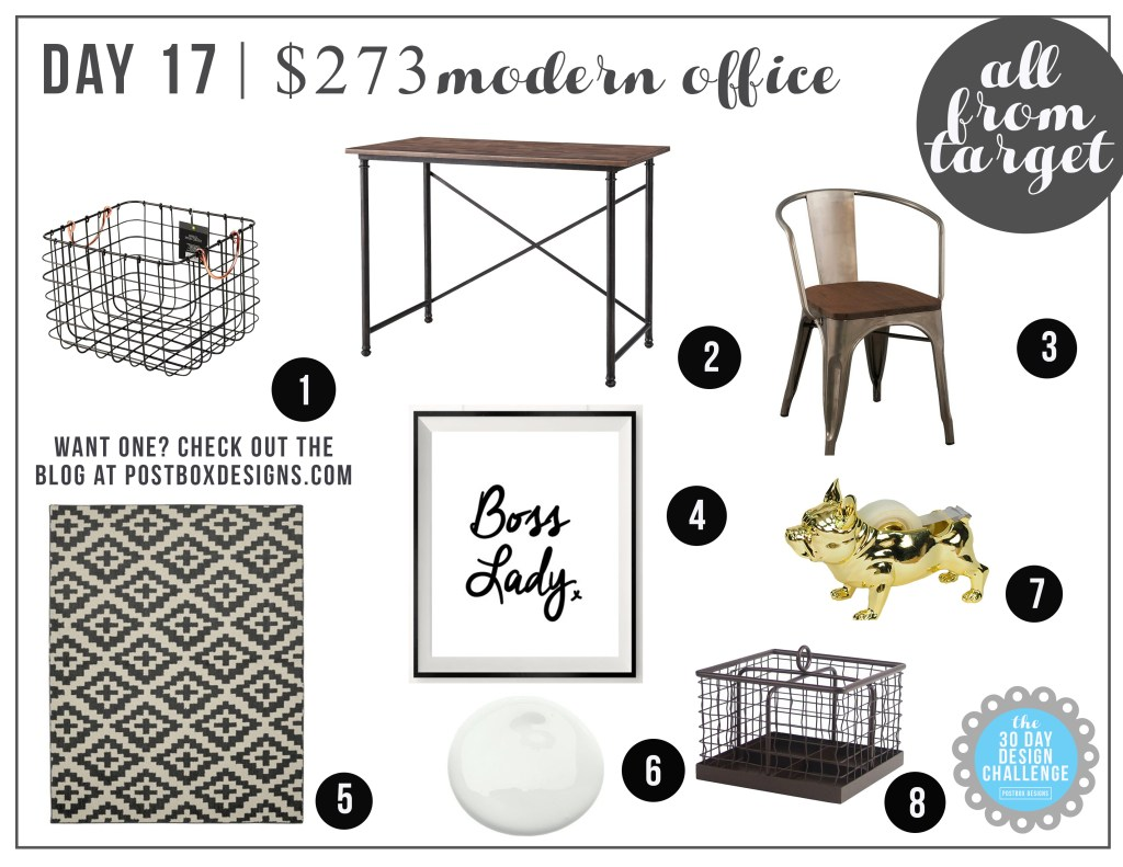 Postbox Designs: Day 17 $273 Modern Girly Office