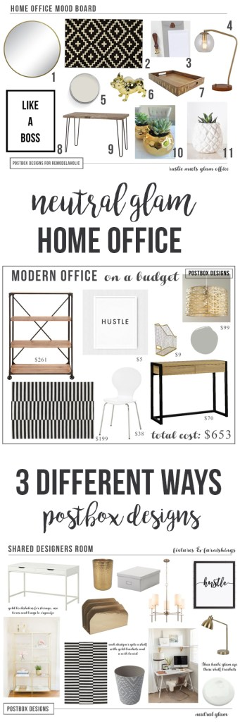Create a Home Office: 3 Different Ways! Mood Boards by Postbox Designs