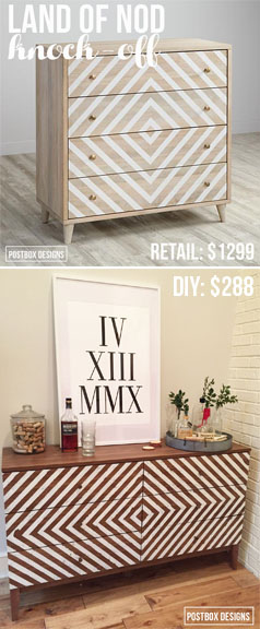 $288 DIY Land of Nod Dresser Knock Off by Postbox Designs