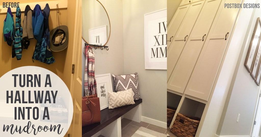 Turn a Hallway Into a Mudroom by Postbox Designs, mudroom ideas, mudroom remodel, lockers, command center, e-design