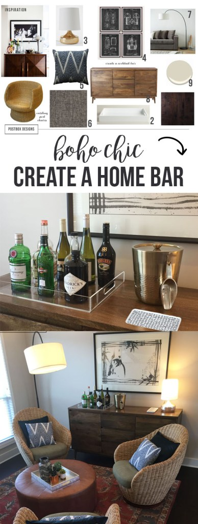 Boho Chic Living Room + Home Bar by Postbox Designs, west elm, all modern, console table, family room, e-design, home bar