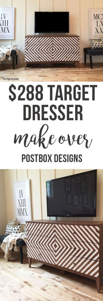 One Room Challenge: Target Dresser Budget Farmhouse Makeover by Postbox Designs,