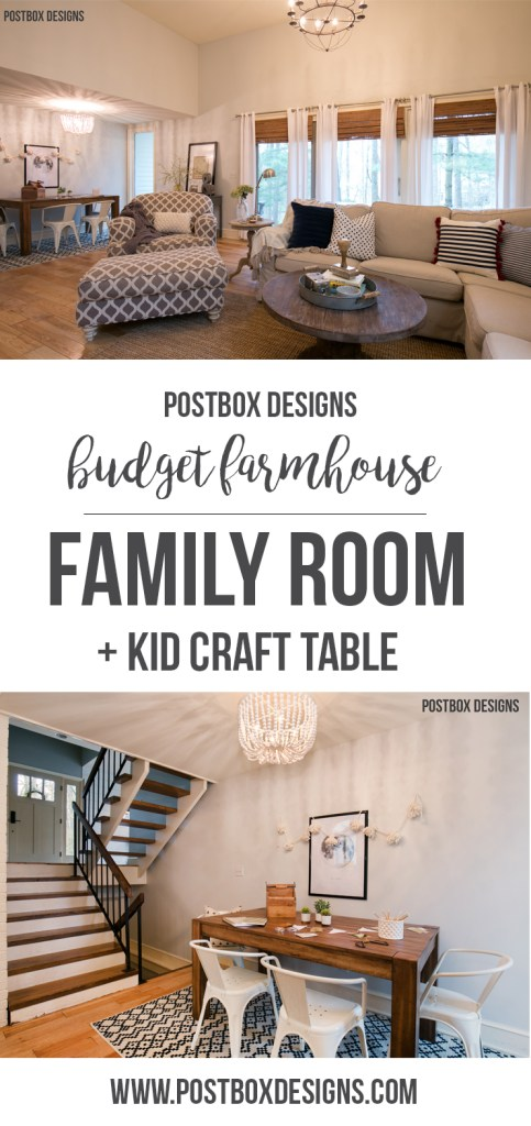Postbox Designs: Farmhouse Family Room for One Room Challenge: Room Makeover Reveal! Fixer Upper Style Living Room + Kid Craft Table