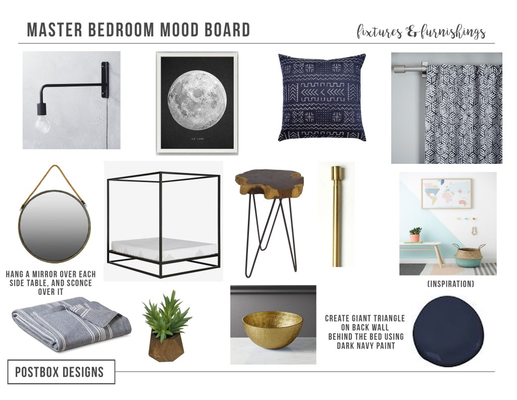 Boho Chic Bedoom on a Budget by Postbox Designs Interior E-Design, get the full mood board of this budget friendly, eclectic, boho chic room makoever!