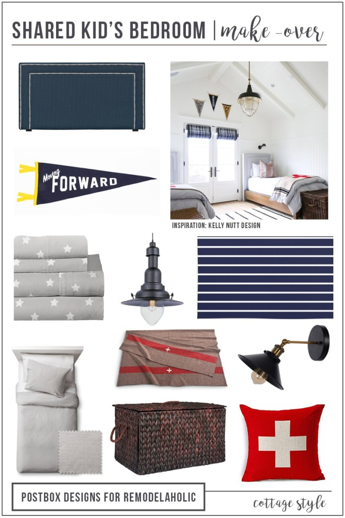 Create a Kid's Bedroom that they will want to share! Mood Board by Postbox Designs E-Deisgn, shared kid's bedroom, bunkroom design, boy bedroom decor, girl bedroom decor
