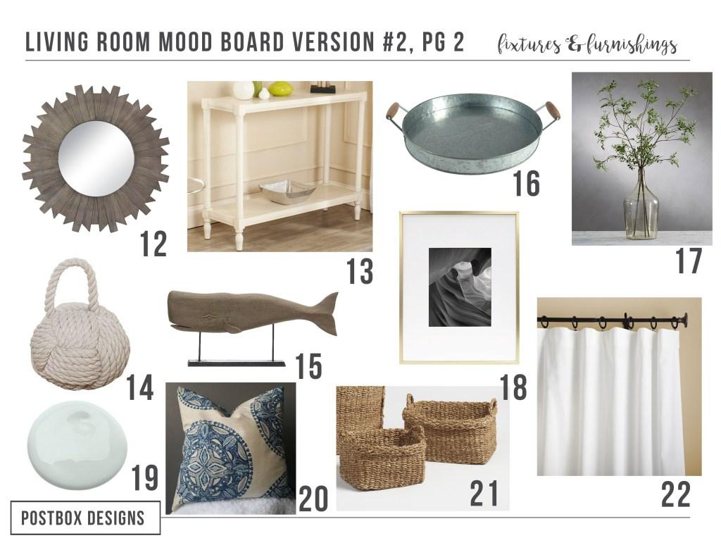 Casual Coastal Family Room Makeover by Postbox Designs E-Design