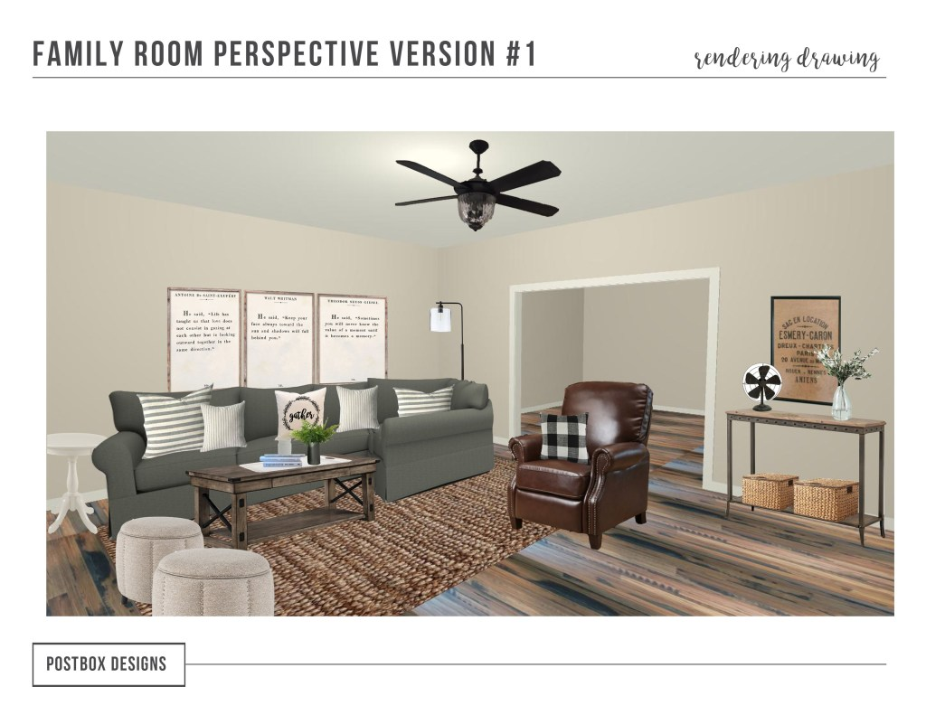 Farmhouse Family Room Makeover + 10 Fixer Upper Elements to Include in Your Room, by Postbox Designs E-Design