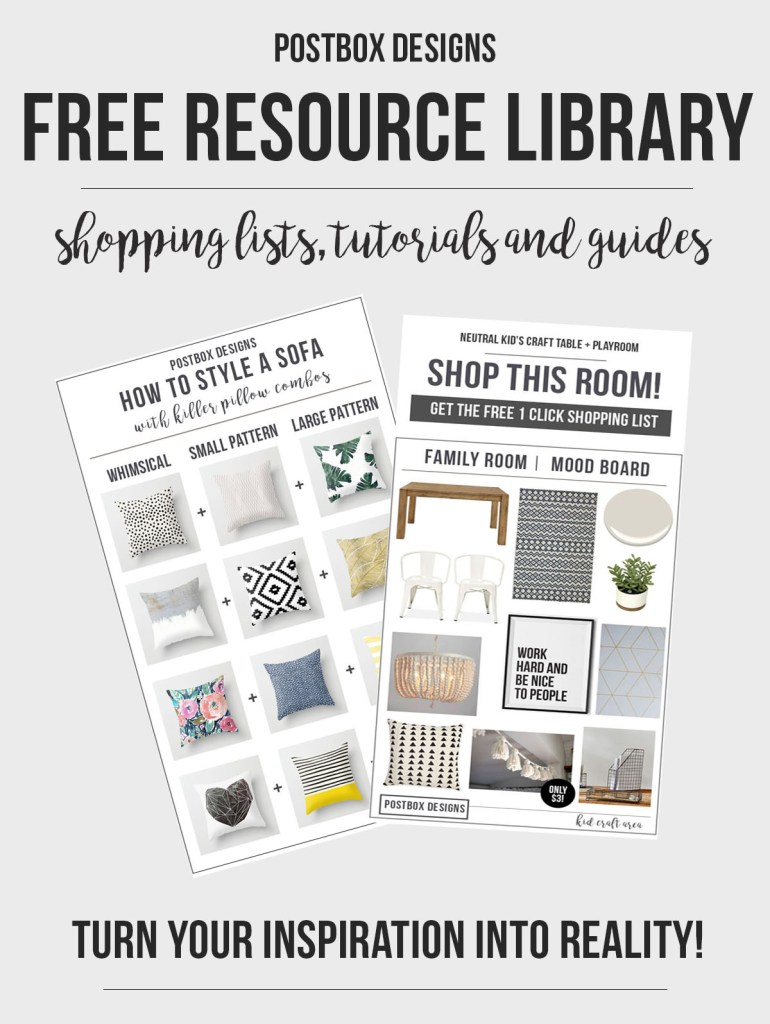 Free Resource Library from Postbox Designs E-Design. Find FREE Guides, Mood Boards, Shopping Lists & More to turn your Pinterest design dreams into reality