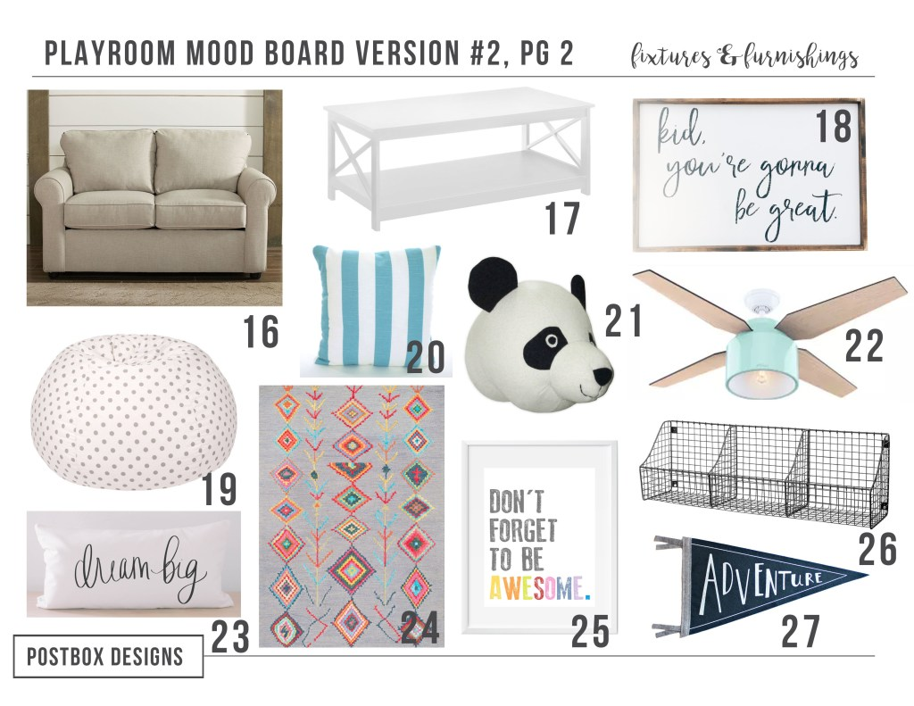 Create the Perfect Budget Friendly Cheery Playroom + Homework Center by Postbox Designs E-Design Plus I'm sharing 6 other Playroom Makeovers with You!