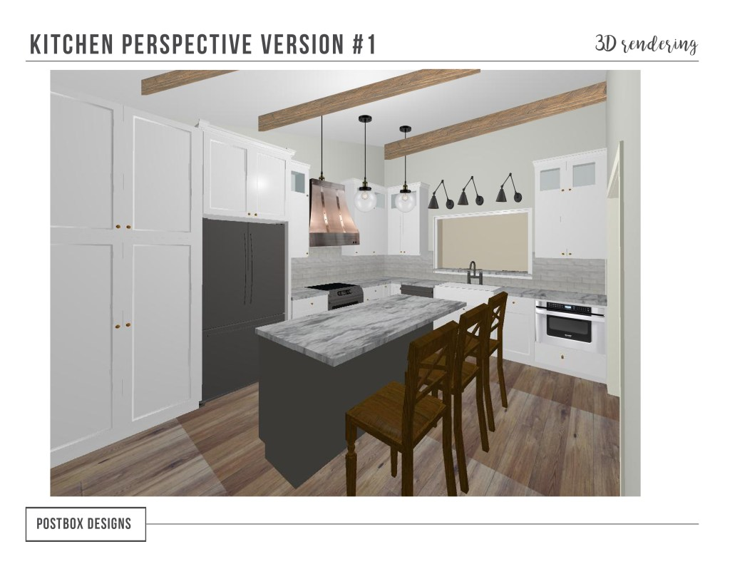 Postbox Designs Interior E-Design: Farmhouse Kitchen Mood Board + 3D rendering, Fixer Upper Style Kitchen Design