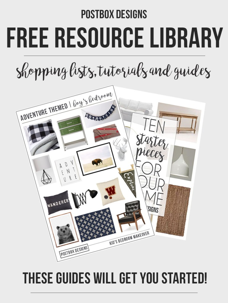 Postbox Designs Interior E-Design Free Resource Library: Grab your freebie printables, Mood Boards, Guides, Shopping Lists, and more!