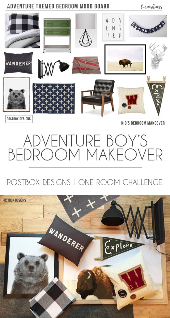 Postbox Designs: Adventure Boy's Bedroom Makeover for One Room Challenge, boy bedroom design ideas, kid bedroom design ideas, interior e-design