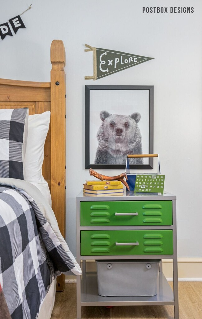 Postbox Designs Boy's Adventure Bedroom Makeover + How to Style a Nightstand, for One Room Challenge