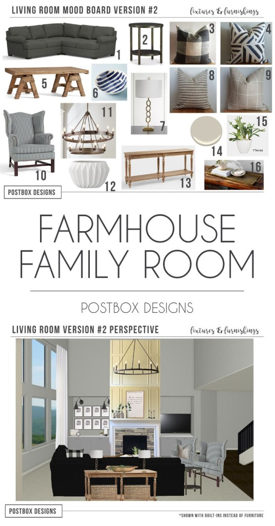 e design farmhouse family room makeover - Farmhouse Great Room Plans