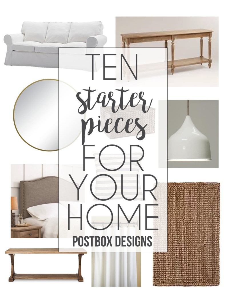 "Postbox Designs Interior E-Design: ""10 Starter Pieces for Your Home"", Build a classic neutral design, find it in my Free Resource Library!"