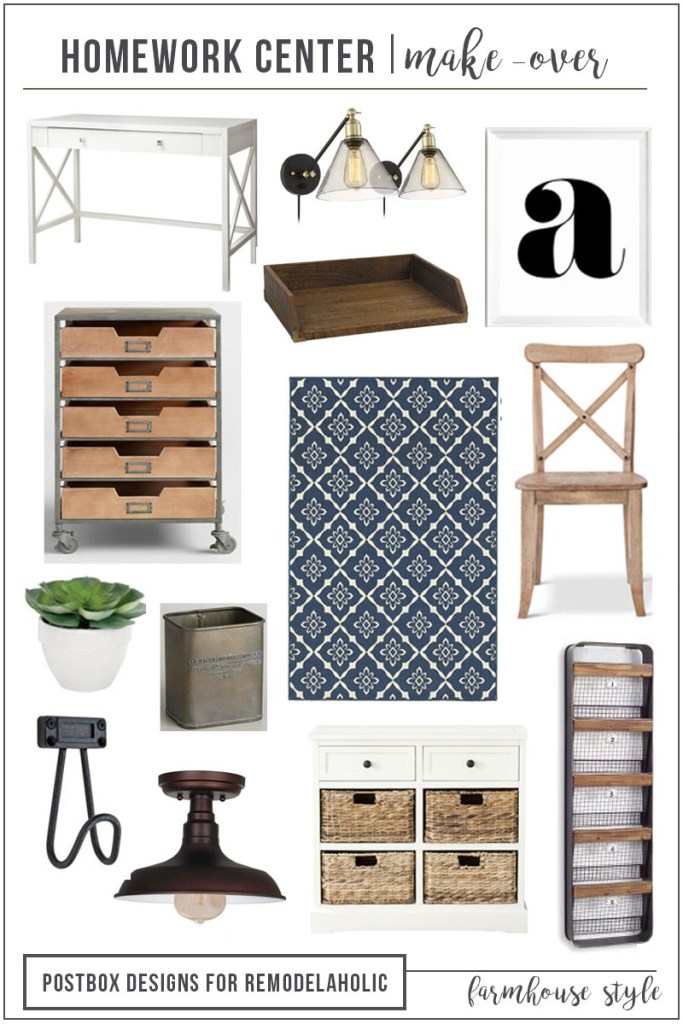 Postbox Designs E-Design: Create the Perfect Farmhouse Home Office or Farmhouse Homework Center, for Remodelaholic