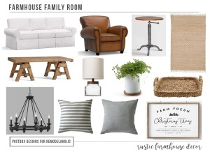 Cheat Sheet: 12 Items for the Perfect Farmhouse Family Room Design