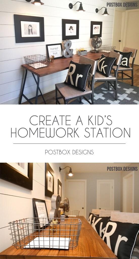 Postbox Designs Interior E-Design: Kid's Homework Station Makeover: Get the  FREE Mood