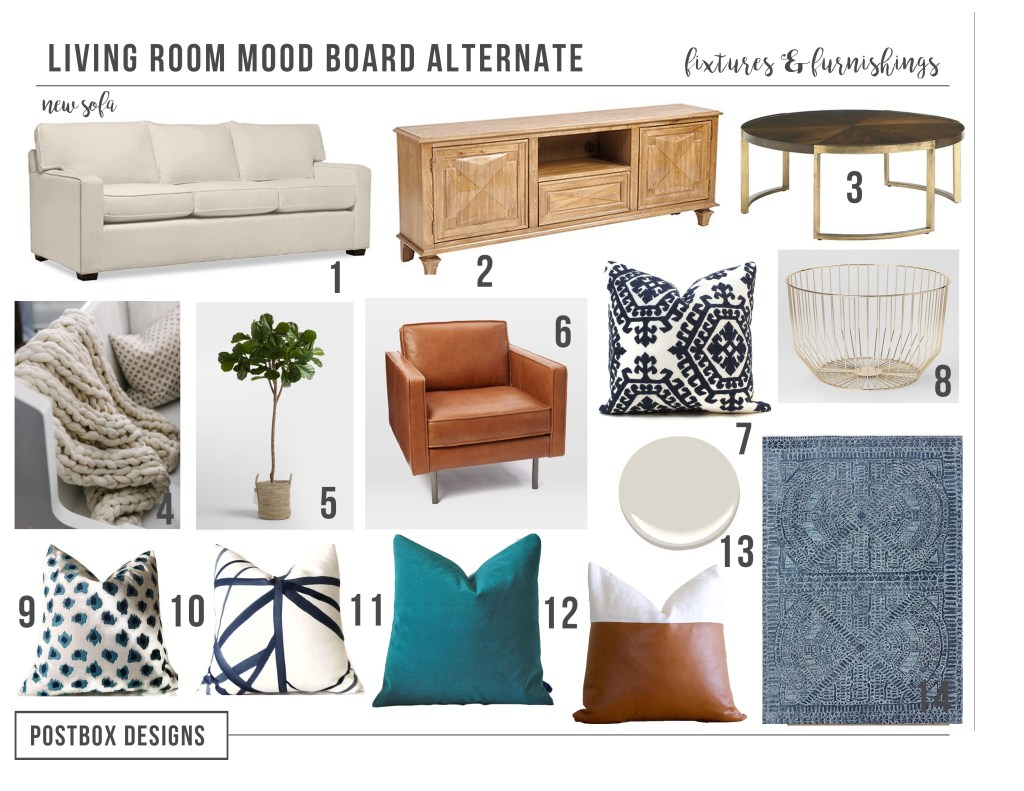 Postbox Designs E-Design: Traditional Living Room Design Makeover, Neutral Family Room with pops of Navy, Online Interior Design