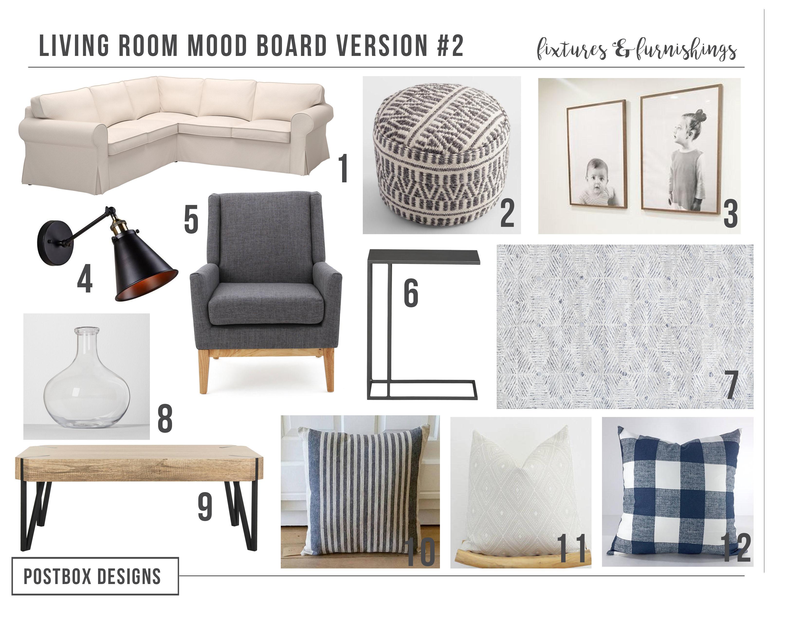 Postbox Designs Interior E Design: Budget Family Friendly Modern Farmhouse Living  Room Makeover,