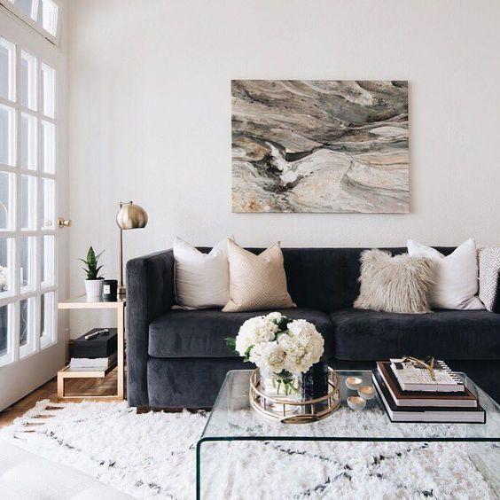 Postbox Designs E-Design: Traditional Living Room Design Makeover, Neutral Family Room with pops of Navy, Online Interior Design, Image via: The Decorista