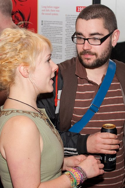 Claire Davey, PFP graphic designer and James Redmond, rabble magazine at the exhibition launch. Photo by Paul Reynolds