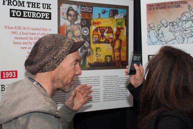 Ronan Lynch being interviewed by the Irish Times at the exhibition launch. Photo by Paul Reynolds
