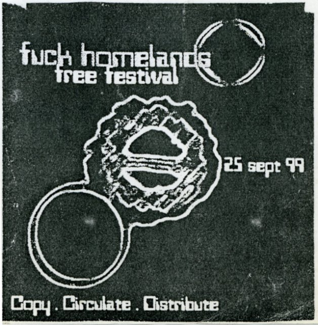 Flyer for Fuck Homelands 1999