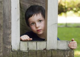 Little Boy Looking Through Wood Framed Window