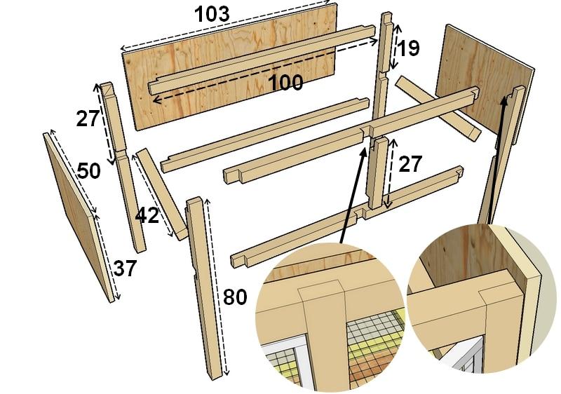 Construction de cages d levage des cailles plan - Plan fabrication niche chien ...