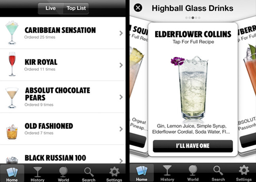 absolut app Drinkspiration: Absolut, Twitter y Facebook en tu iPhone