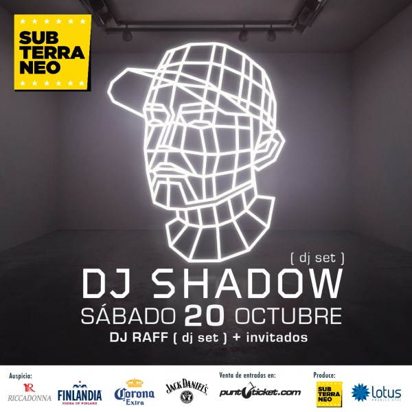 afiche 01 600x600 DJ Shadow + Invitados en Club Subterraneo.