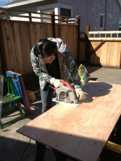 Woman with power tools.