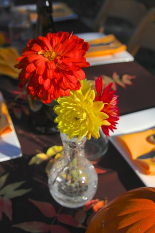 Fall dahlias for the center pieces.