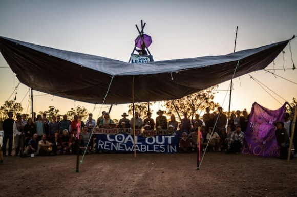 Protesters at Steyer's Maules Creek coal mine, Jan 2014