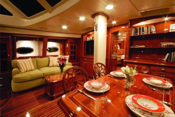 Inside John Kerry's boat. A bit different from Rubio's.