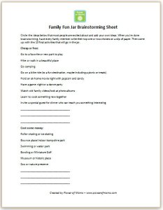 family fun jar brainstorming sheet