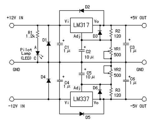 Symmetric 12v To 5v Converter Power Supply Circuits