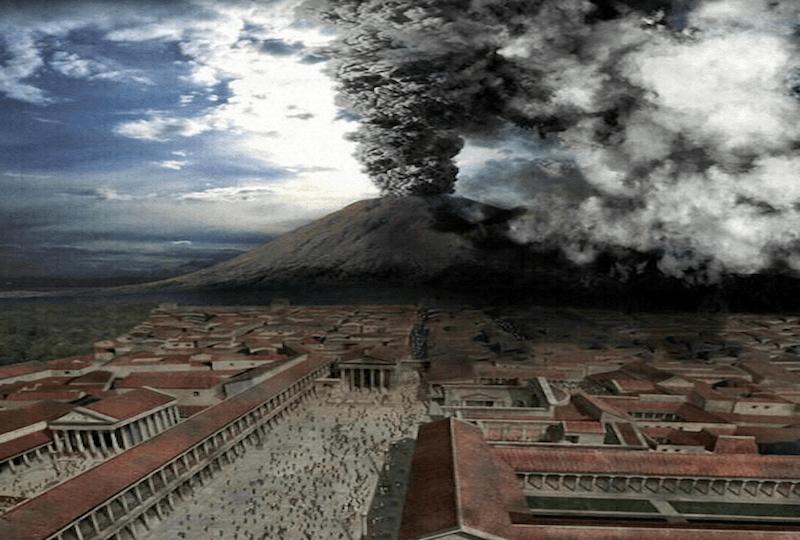 Извержение Везувия. Компьютерная реконструкция.