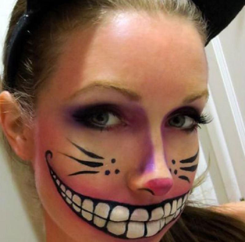 Чеширский кот на Хэллоуин, Простые идеи макияжа Хэллоуин